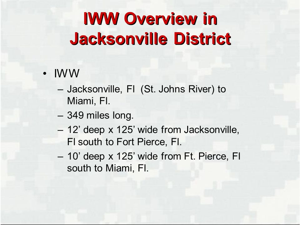 IWW Overview in Jacksonville District IWW –Jacksonville, Fl (St.