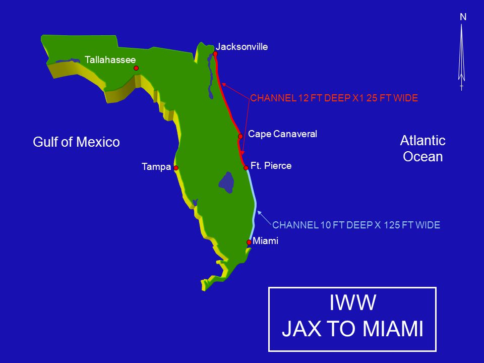 IWW JAX TO MIAMI Cape Canaveral Atlantic Ocean CHANNEL 12 FT DEEP X1 25 FT WIDE Jacksonville Miami Tampa N Gulf of Mexico Ft.