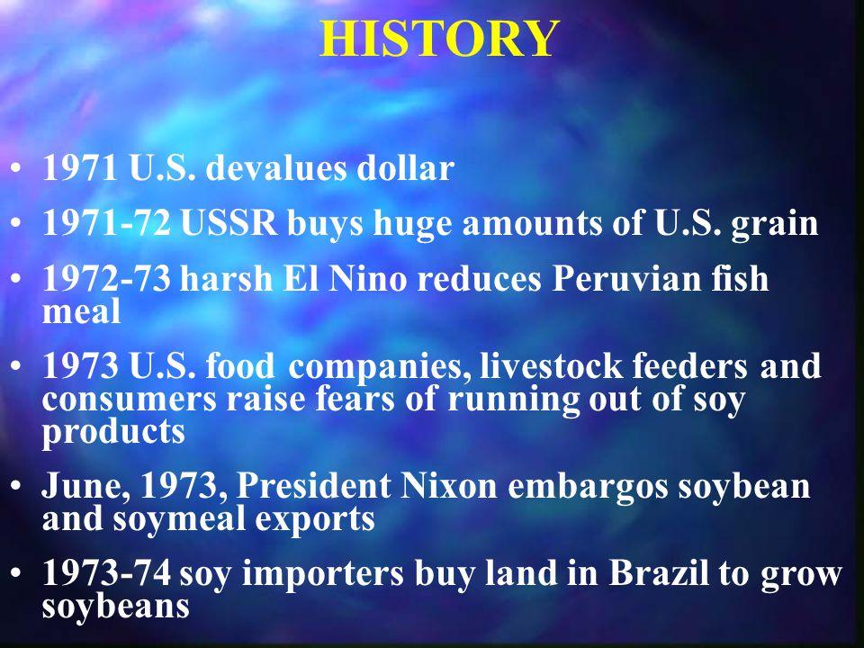 BRAZIL SOYBEAN PRODUCTION Mil.Tons Mil. Bu. 1973 5.0 184 200034.2 1,259 2002 43.5 1,600 USDA Proj.
