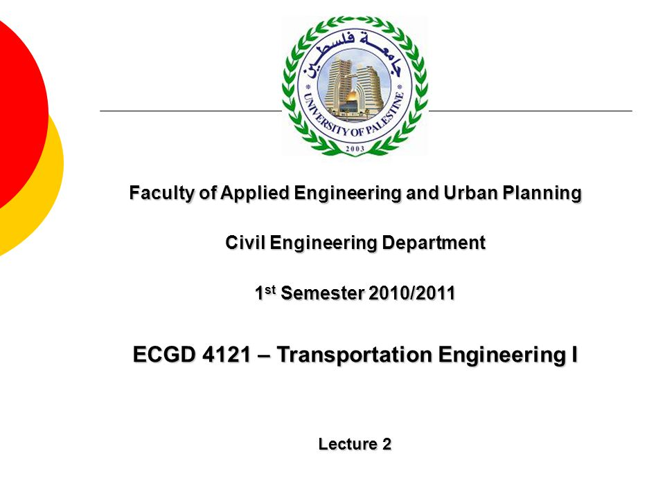 ECGD 4121 – Transportation Engineering I Lecture 2 Faculty of Applied Engineering and Urban Planning Civil Engineering Department 1 st Semester 2010/2
