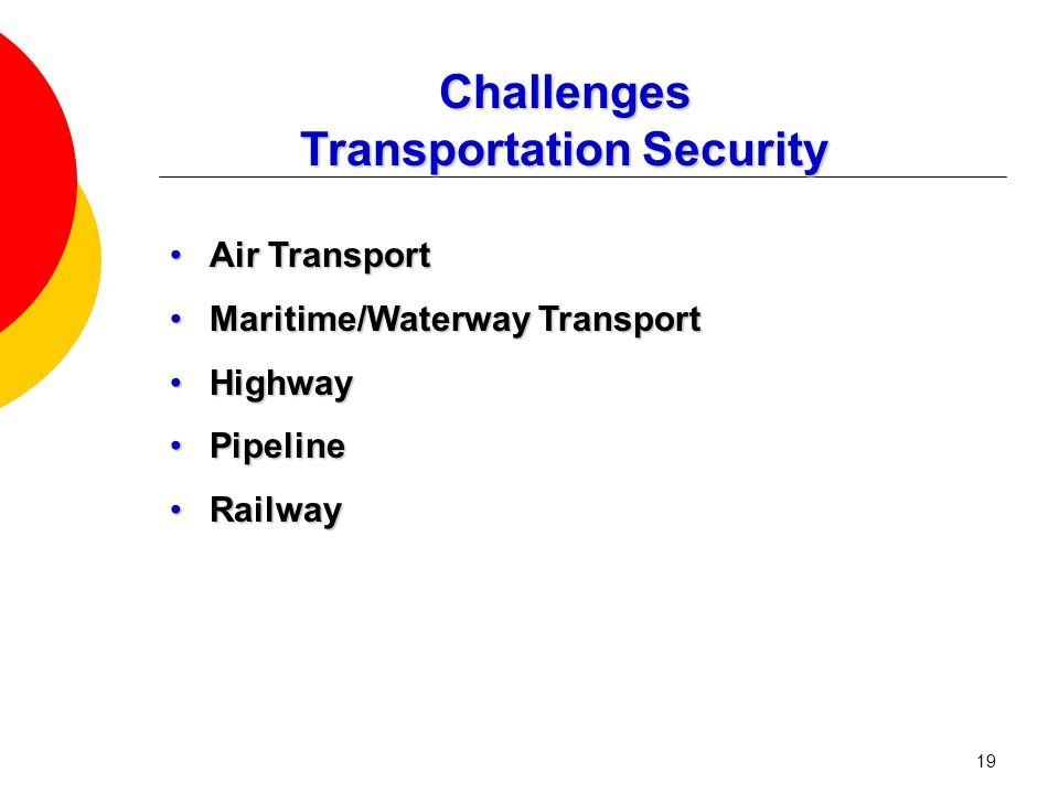19 Challenges Transportation Security Air TransportAir Transport Maritime/Waterway TransportMaritime/Waterway Transport HighwayHighway PipelinePipelin