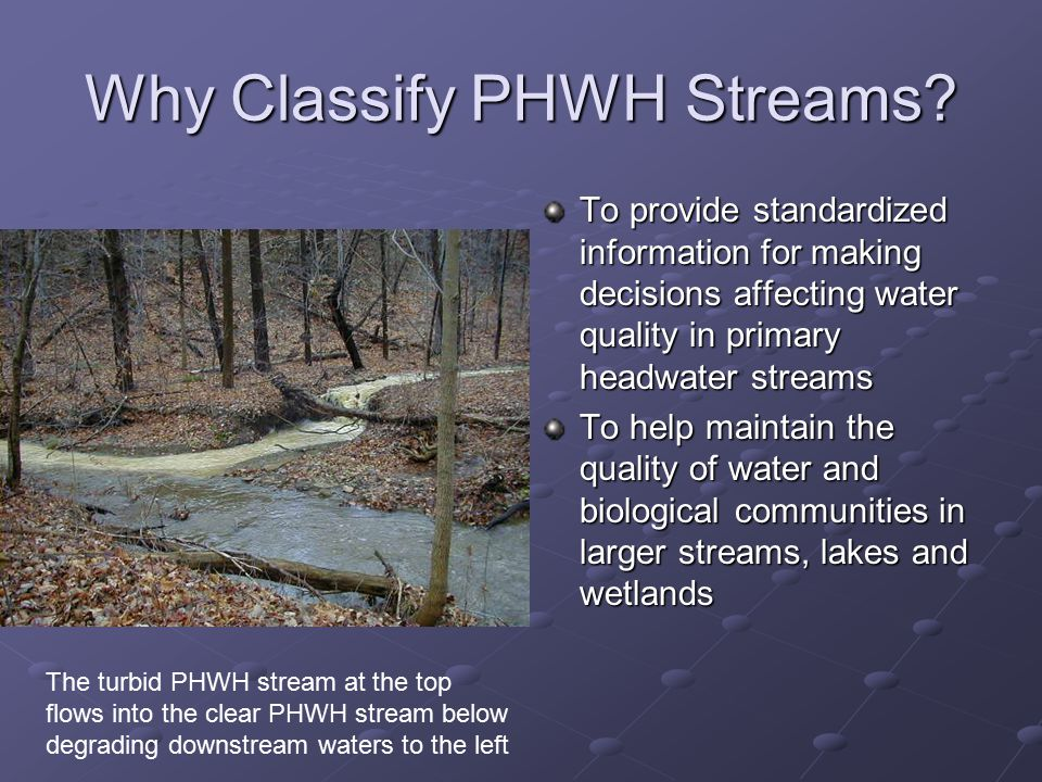 Why Classify PHWH Streams.