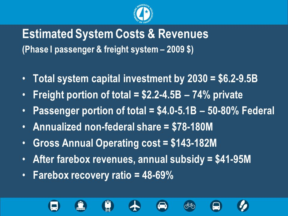 Estimated System Costs & Revenues (Phase I passenger & freight system – 2009 $) Total system capital investment by 2030 = $6.2-9.5B Freight portion of total = $2.2-4.5B – 74% private Passenger portion of total = $4.0-5.1B – 50-80% Federal Annualized non-federal share = $78-180M Gross Annual Operating cost = $143-182M After farebox revenues, annual subsidy = $41-95M Farebox recovery ratio = 48-69%
