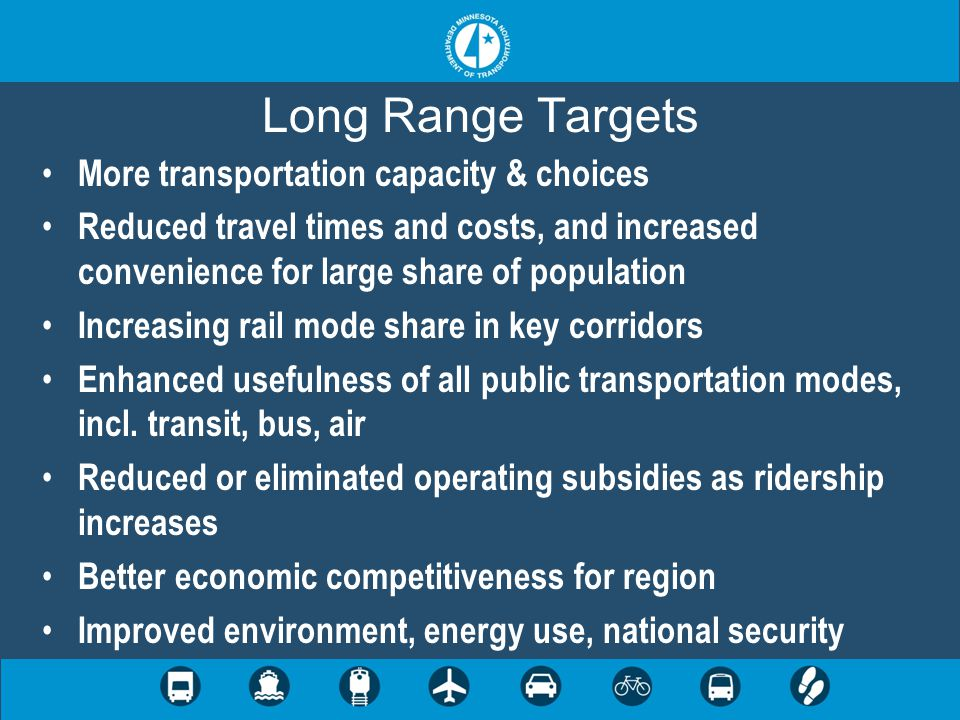 Long Range Targets More transportation capacity & choices Reduced travel times and costs, and increased convenience for large share of population Increasing rail mode share in key corridors Enhanced usefulness of all public transportation modes, incl.