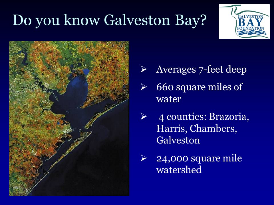 Galveston Bay Foundation Mission: To preserve, protect, and enhance the natural resources of Galveston Bay and its tributaries for present users and for posterity.