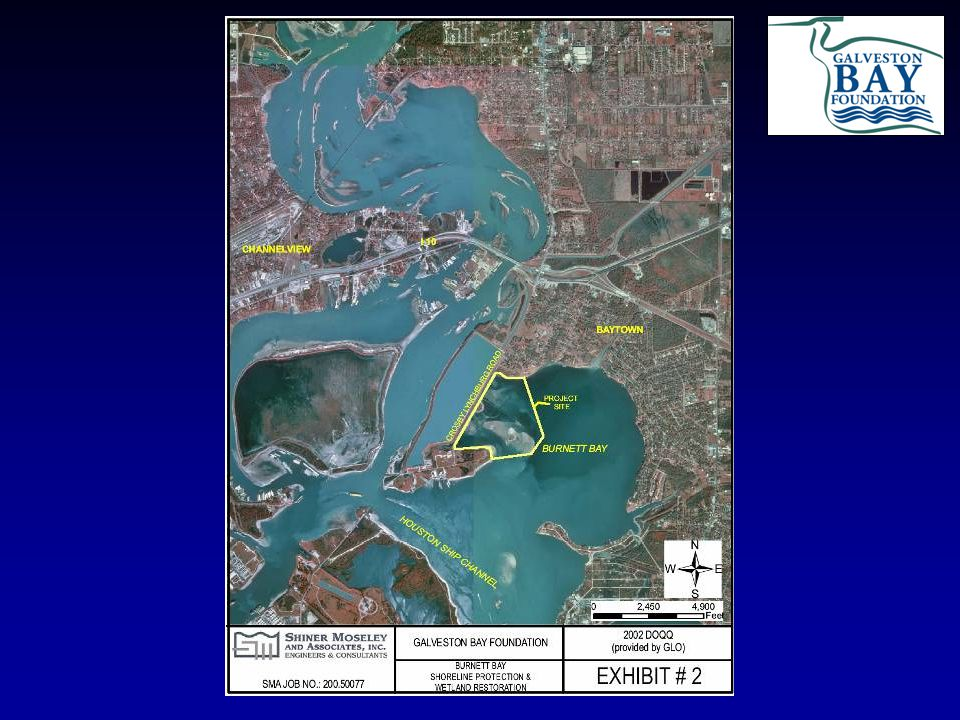 BUG Project: Evia Island  6-acre island, one mile north of the Bolivar Peninsula built using materials dredged from the expansion of the Houston-Galveston Navigation Channels  Peak elevation of 12 feet above mean low tide, features a 250-foot beach and a lagoon area for young birds