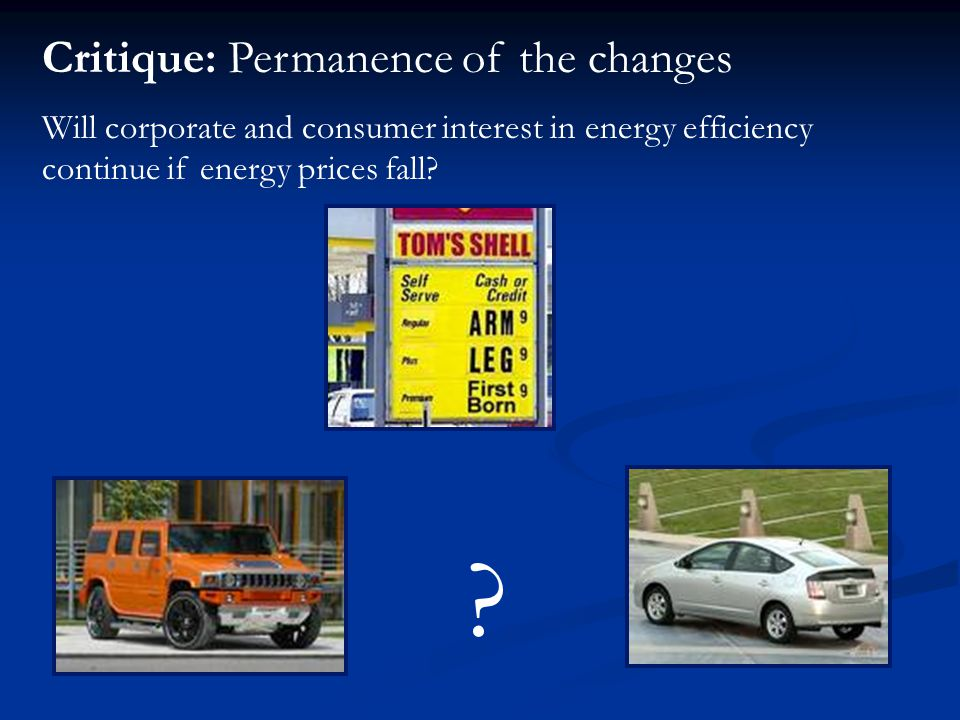 Critique: Permanence of the changes Will corporate and consumer interest in energy efficiency continue if energy prices fall.
