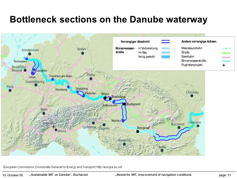 """12. October 06 """"Sustainable IWT on Danube"""", Bucharest page: 17 """"Needs for IWT, improvement of navigation conditions European Commission, Directorate-G"""