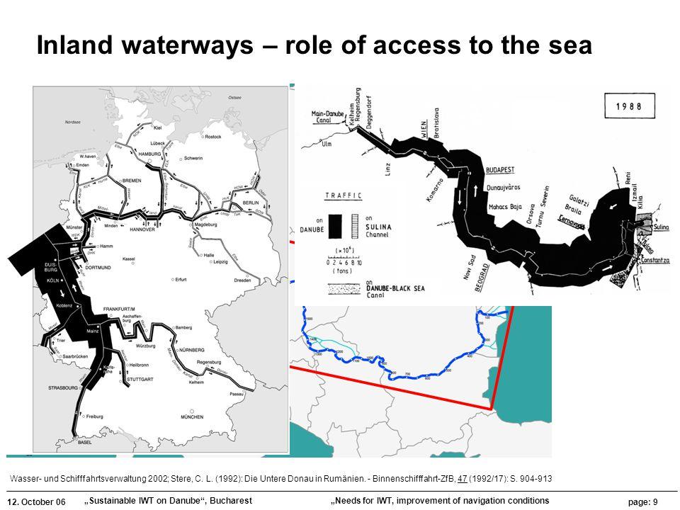"""12. October 06 """"Sustainable IWT on Danube"""", Bucharest page: 9 """"Needs for IWT, improvement of navigation conditions Wasser- und Schifffahrtsverwaltung"""