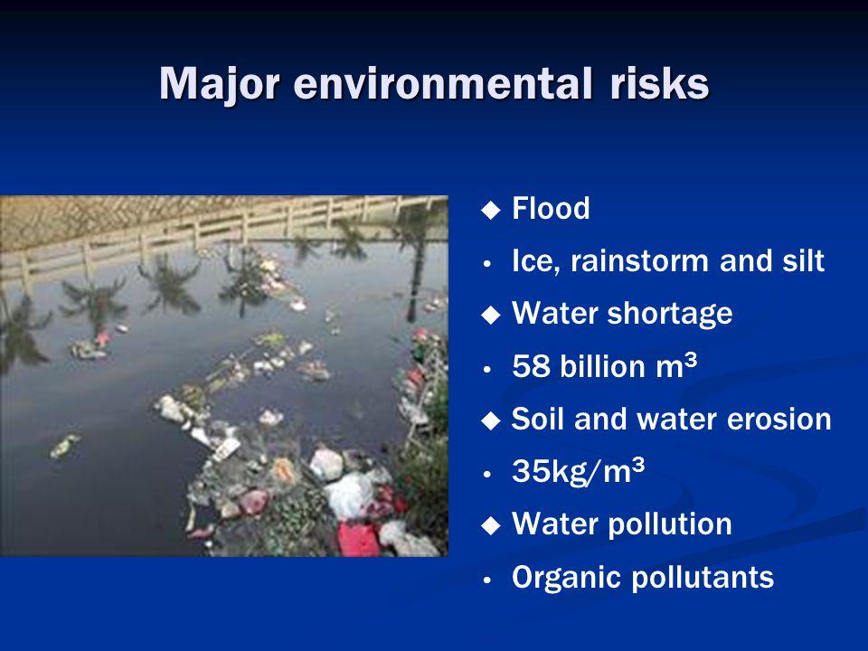 Major environmental risks   Flood Ice, rainstorm and silt   Water shortage 58 billion m 3   Soil and water erosion 35kg/m 3   Water pollution Organic pollutants