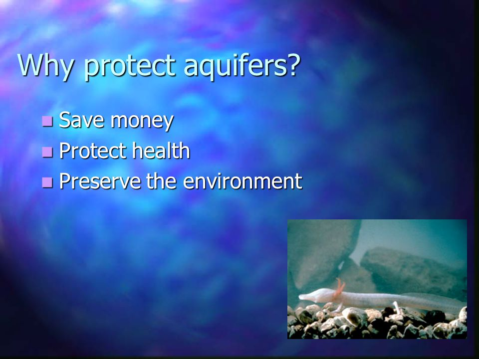 Aquifer protection authority Federal Federal Legislative (CWA, SDWA) Legislative (CWA, SDWA) Provide resources (financial, advisory) Provide resources (financial, advisory) State State Legislative (rights, standards) Legislative (rights, standards) Provide resources (financial, advisory) Provide resources (financial, advisory) Sub-State Regional Sub-State Regional *Legislative (planning, zoning) *Legislative (planning, zoning) Provide resources (financial, advisory) Provide resources (financial, advisory) Local Local Legislative (planning, zoning) Legislative (planning, zoning)