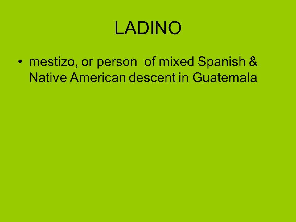 LADINO mestizo, or person of mixed Spanish & Native American descent in Guatemala