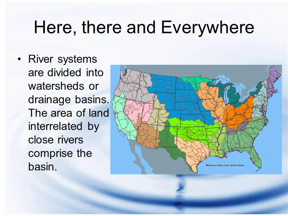 Here, there and Everywhere River systems are divided into watersheds or drainage basins.