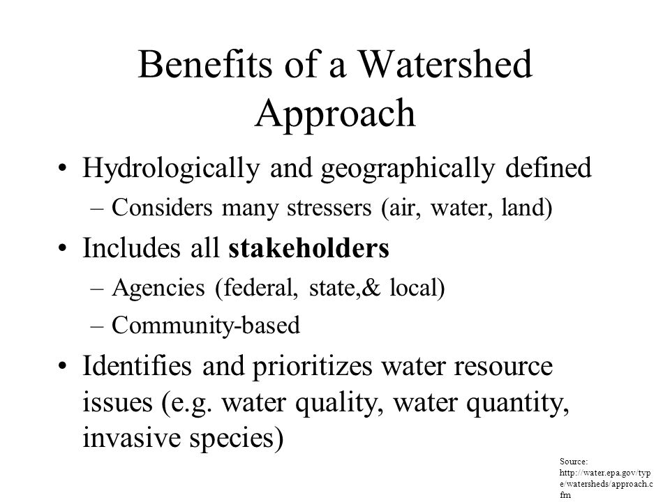 Benefits of a Watershed Approach Hydrologically and geographically defined –Considers many stressers (air, water, land) Includes all stakeholders –Agencies (federal, state,& local) –Community-based Identifies and prioritizes water resource issues (e.g.