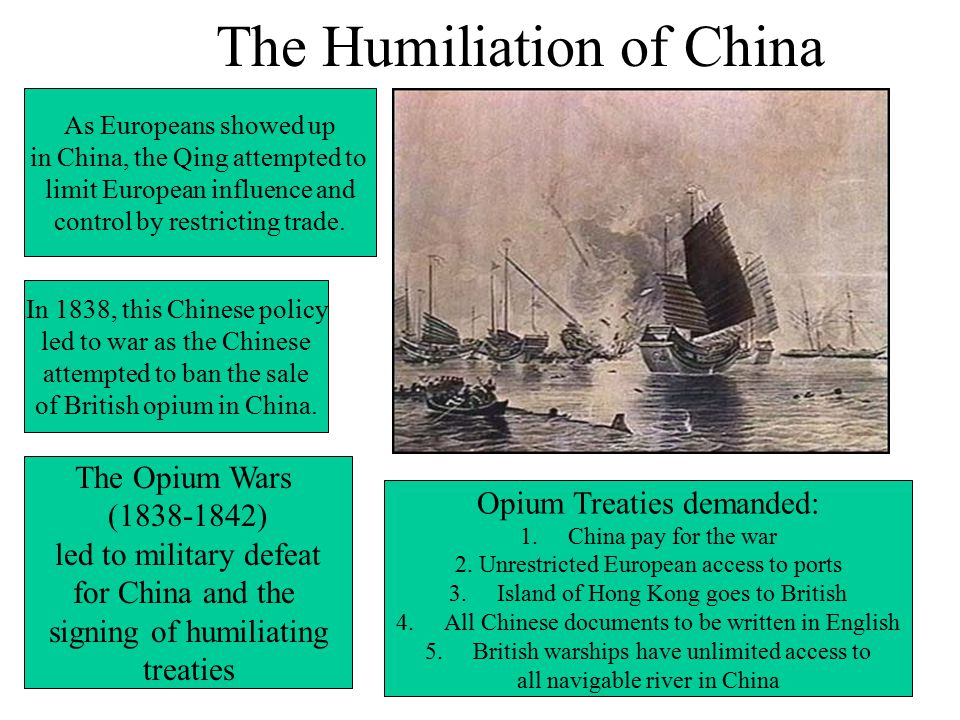 The Humiliation of China In 1838, this Chinese policy led to war as the Chinese attempted to ban the sale of British opium in China.