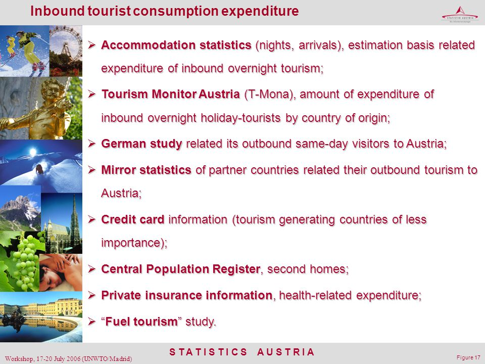 S T A T I S T I C S A U S T R I A Workshop, 17-20 July 2006 (UNWTO/Madrid) Figure 17 Inbound tourist consumption expenditure  Accommodation statistic