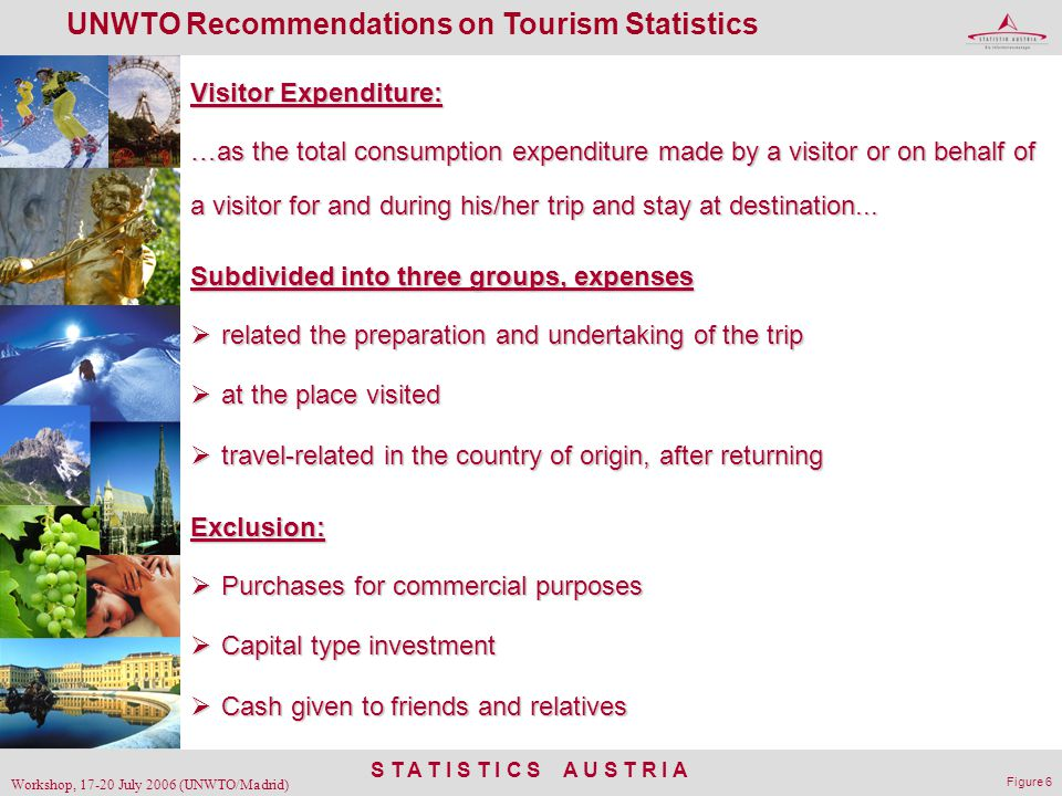 S T A T I S T I C S A U S T R I A Workshop, 17-20 July 2006 (UNWTO/Madrid) Figure 6 UNWTO Recommendations on Tourism Statistics Visitor Expenditure: …