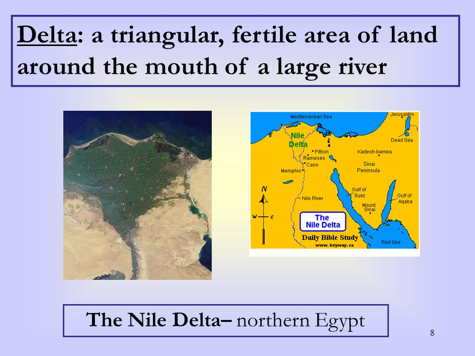 8 Delta: a triangular, fertile area of land around the mouth of a large river The Nile Delta– northern Egypt