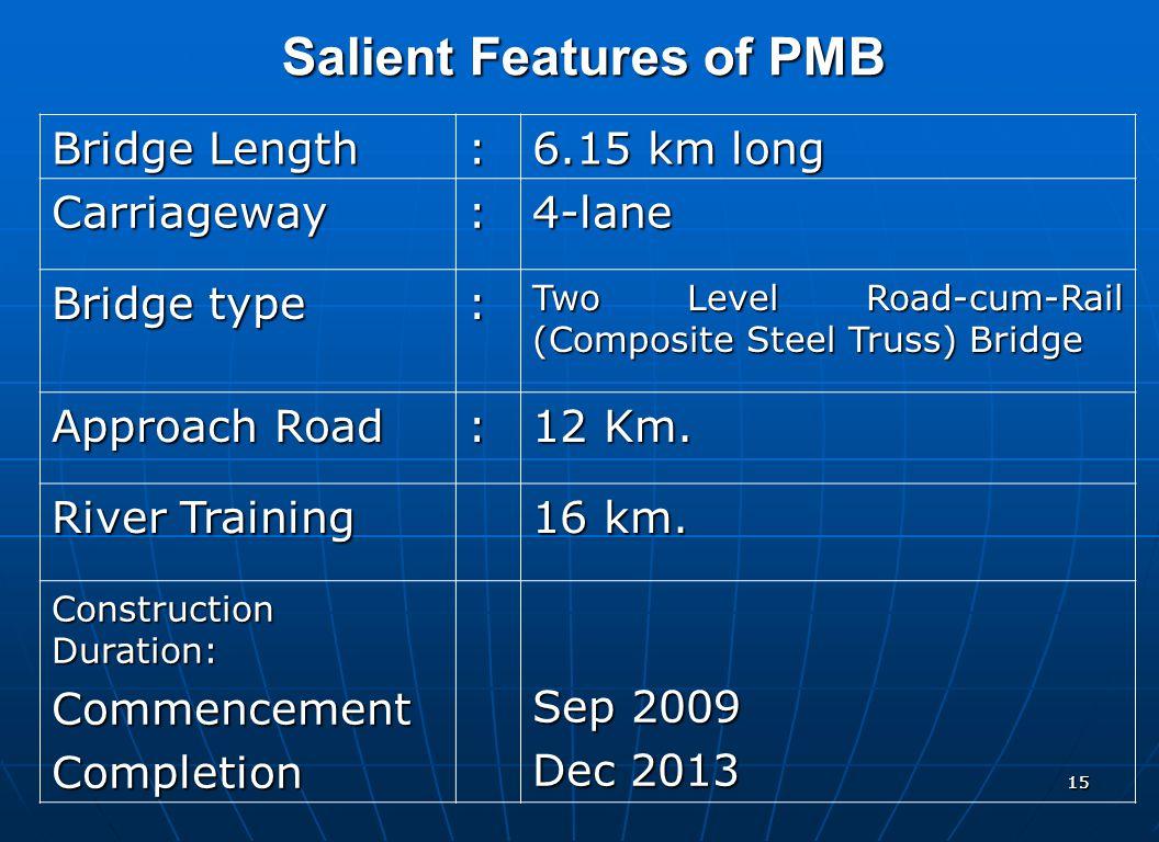 1515 Salient Features of PMB Bridge Length : 6.15 km long Carriageway:4-lane Bridge type : Two Level Road-cum-Rail (Composite Steel Truss) Bridge Appr
