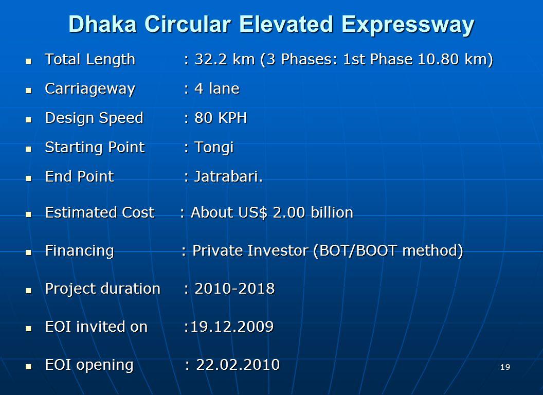 19 Dhaka Circular Elevated Expressway Total Length : 32.2 km (3 Phases: 1st Phase 10.80 km) Total Length : 32.2 km (3 Phases: 1st Phase 10.80 km) Carr
