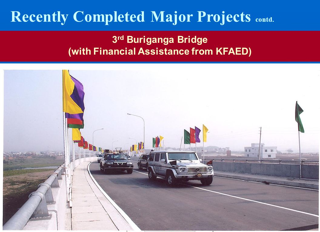 2727 Recently Completed Major Projects contd. 3 rd Buriganga Bridge (with Financial Assistance from KFAED)