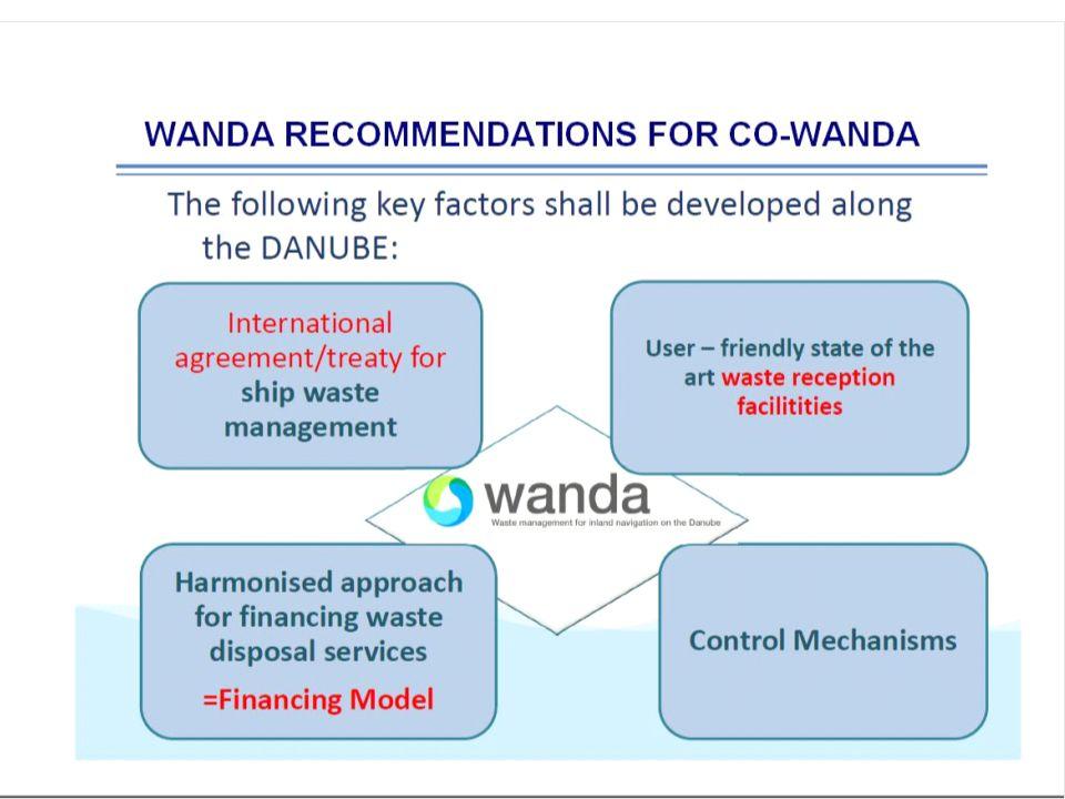 CO -WANDA PROJECT  CO-WANDA – Convention for WAste management for inland Navigation on the Danube, SEE /D/0199/2.2/X  Duration01/2012-09/2014  SupportEuropean Regional Development Funds (ERDF)  Total cost1 719 870 Euro  Lead Partnervia donau - Österreichische Wasserstraßen-Gesellschaft mbH