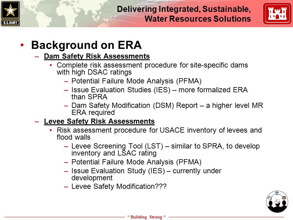 Building Strong Delivering Integrated, Sustainable, Water Resources Solutions Where is ERA going in USACE Engineering.