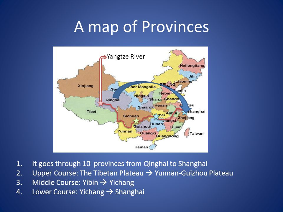 A map of Provinces 1.It goes through 10 provinces from Qinghai to Shanghai 2.Upper Course: The Tibetan Plateau  Yunnan-Guizhou Plateau 3.Middle Course: Yibin  Yichang 4.Lower Course: Yichang  Shanghai Yangtze River