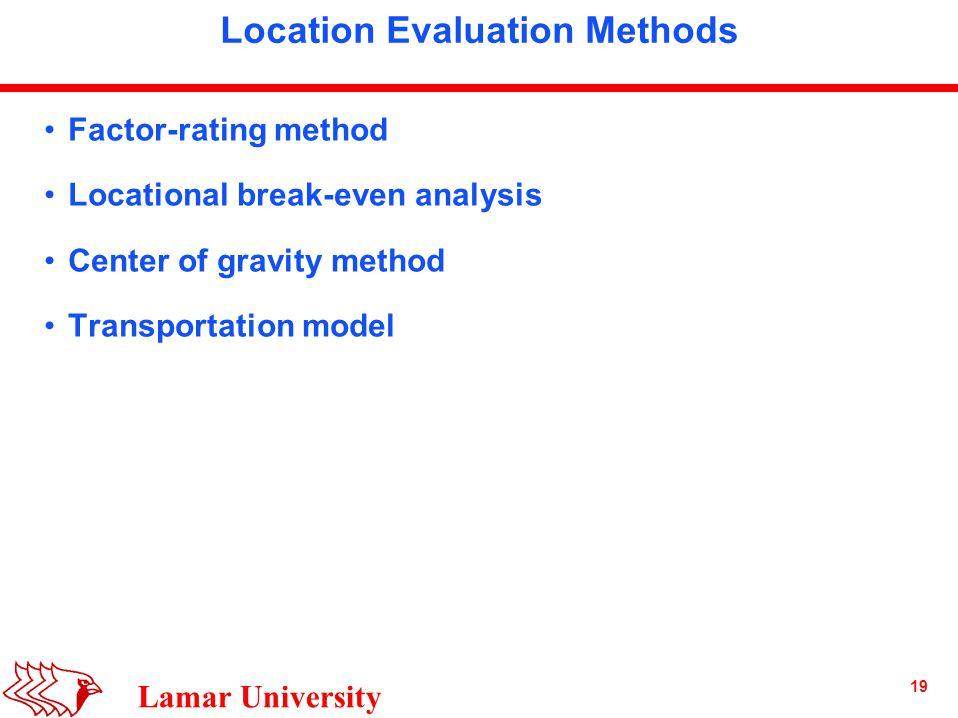 19 Lamar University Location Evaluation Methods Factor-rating method Locational break-even analysis Center of gravity method Transportation model