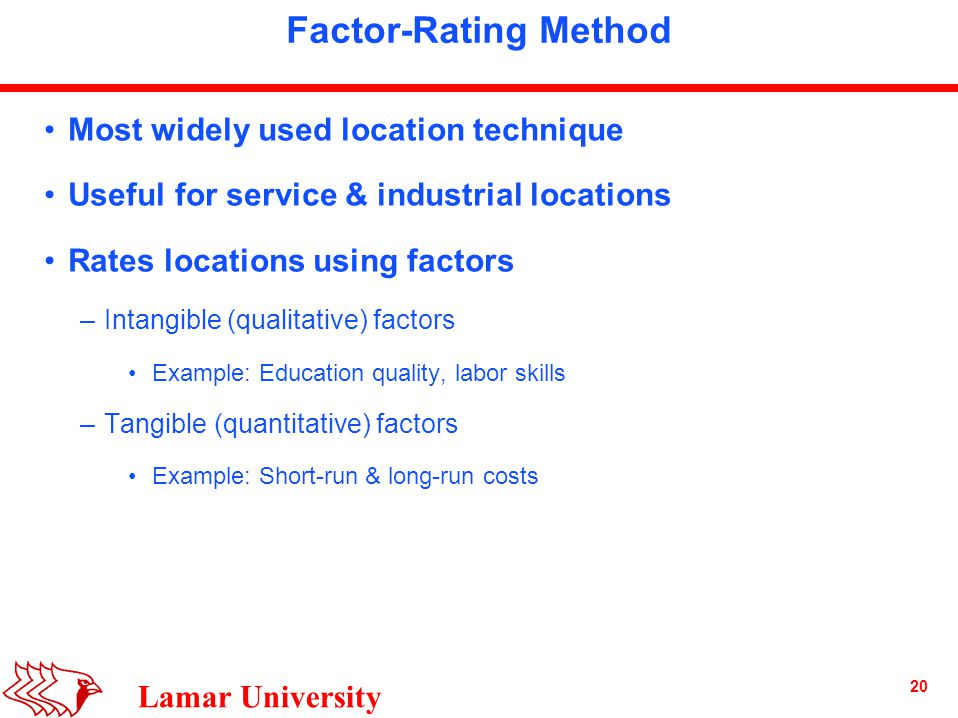 20 Lamar University Factor-Rating Method Most widely used location technique Useful for service & industrial locations Rates locations using factors –Intangible (qualitative) factors Example: Education quality, labor skills –Tangible (quantitative) factors Example: Short-run & long-run costs