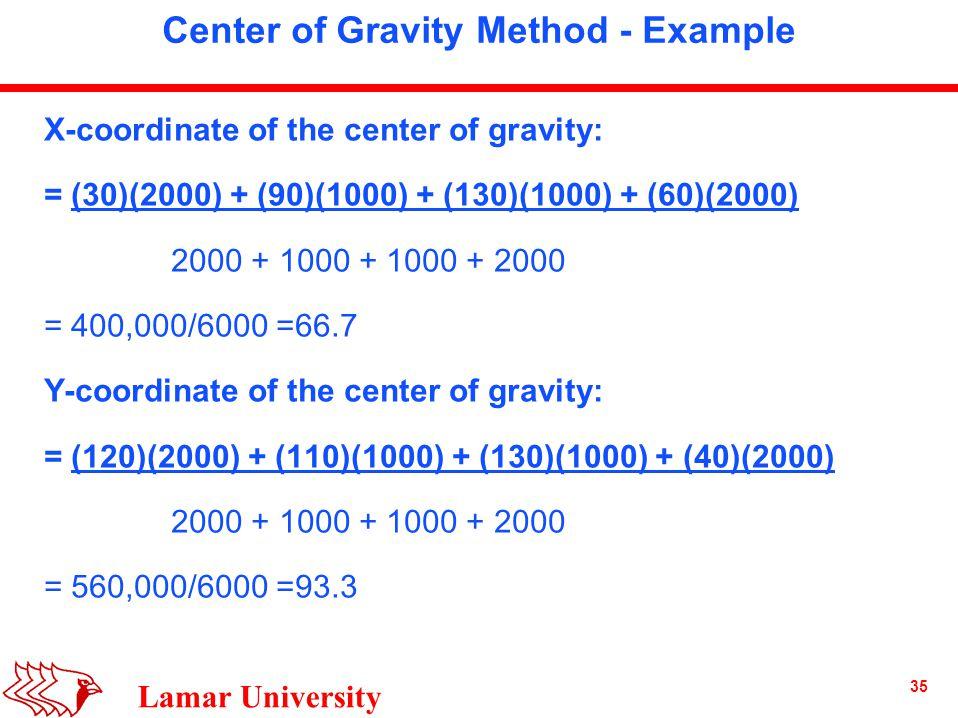 35 Lamar University Center of Gravity Method - Example X-coordinate of the center of gravity: = (30)(2000) + (90)(1000) + (130)(1000) + (60)(2000) 2000 + 1000 + 1000 + 2000 = 400,000/6000 =66.7 Y-coordinate of the center of gravity: = (120)(2000) + (110)(1000) + (130)(1000) + (40)(2000) 2000 + 1000 + 1000 + 2000 = 560,000/6000 =93.3