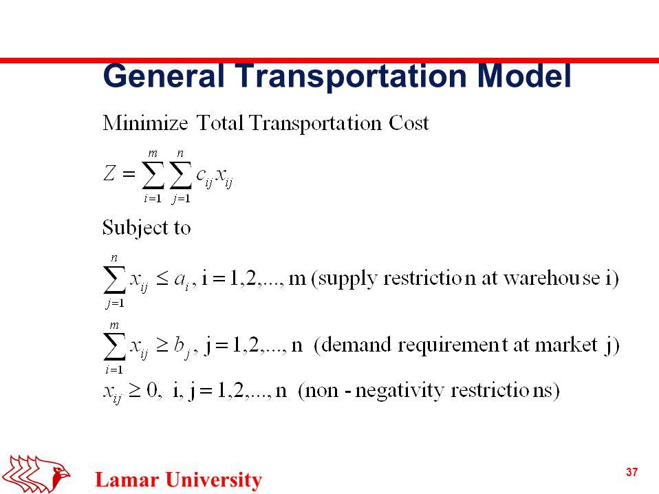 37 Lamar University General Transportation Model