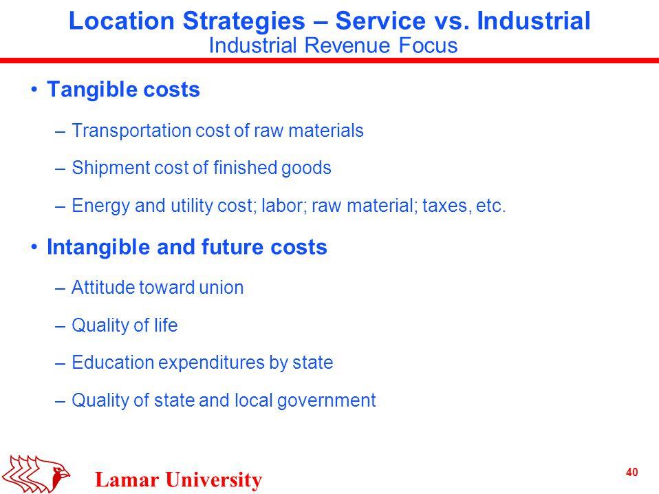 40 Lamar University Location Strategies – Service vs.