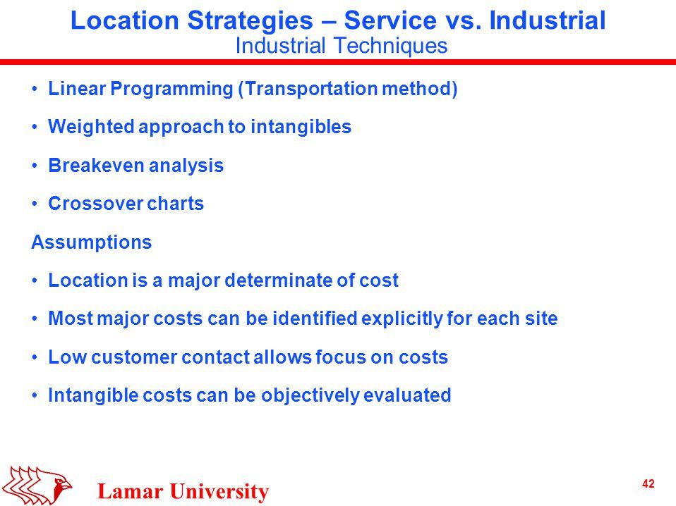 42 Lamar University Location Strategies – Service vs.