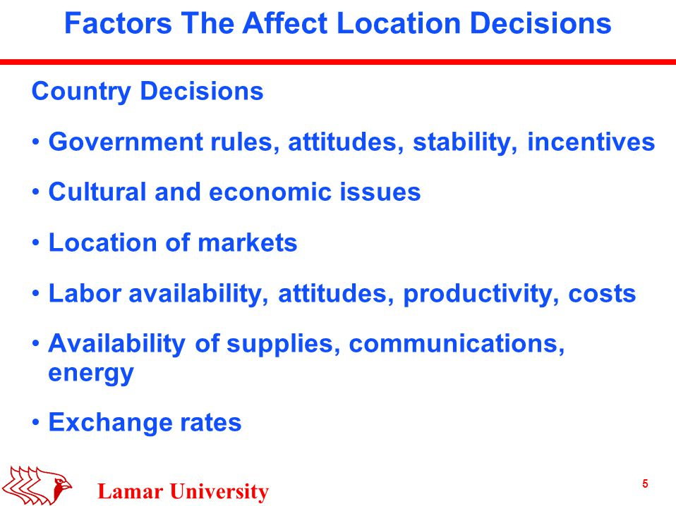 5 Lamar University Factors The Affect Location Decisions Country Decisions Government rules, attitudes, stability, incentives Cultural and economic issues Location of markets Labor availability, attitudes, productivity, costs Availability of supplies, communications, energy Exchange rates
