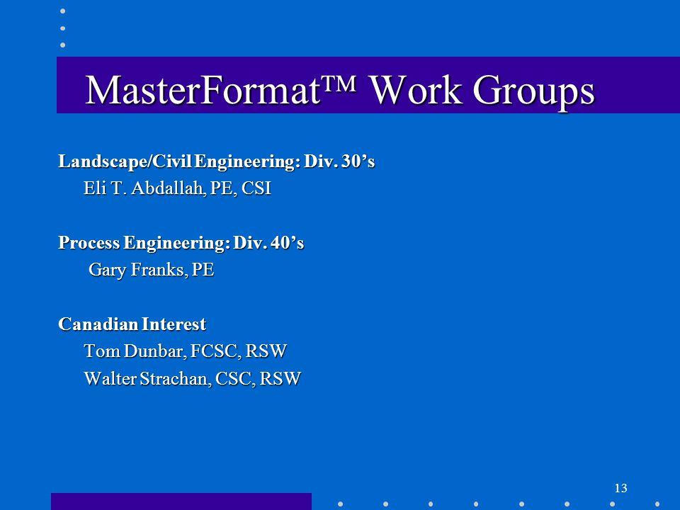 13 MasterFormat  Work Groups Landscape/Civil Engineering: Div.