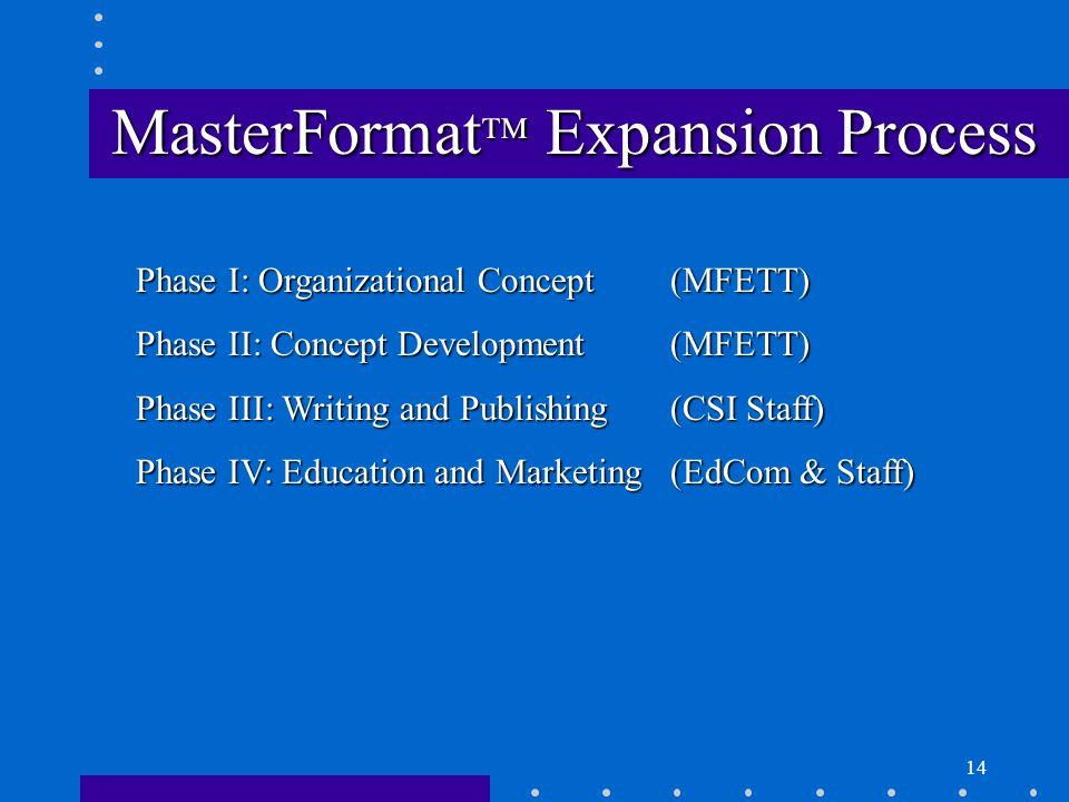 14 MasterFormat  Expansion Process Phase I: Organizational Concept(MFETT) Phase II: Concept Development(MFETT) Phase III: Writing and Publishing(CSI Staff) Phase IV: Education and Marketing(EdCom & Staff)