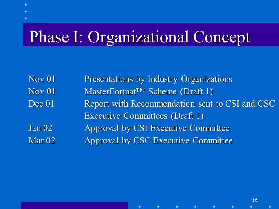 16 Phase I: Organizational Concept Nov 01Presentations by Industry Organizations Nov 01MasterFormat™ Scheme (Draft 1) Dec 01Report with Recommendation sent to CSI and CSC Executive Committees (Draft 1) Jan 02Approval by CSI Executive Committee Mar 02Approval by CSC Executive Committee