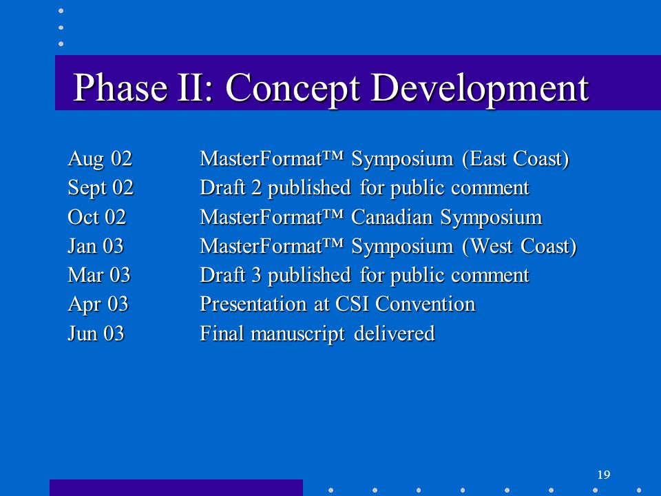 19 Phase II: Concept Development Aug 02MasterFormat™ Symposium (East Coast) Sept 02Draft 2 published for public comment Oct 02MasterFormat™ Canadian Symposium Jan 03MasterFormat™ Symposium (West Coast) Mar 03Draft 3 published for public comment Apr 03Presentation at CSI Convention Jun 03Final manuscript delivered