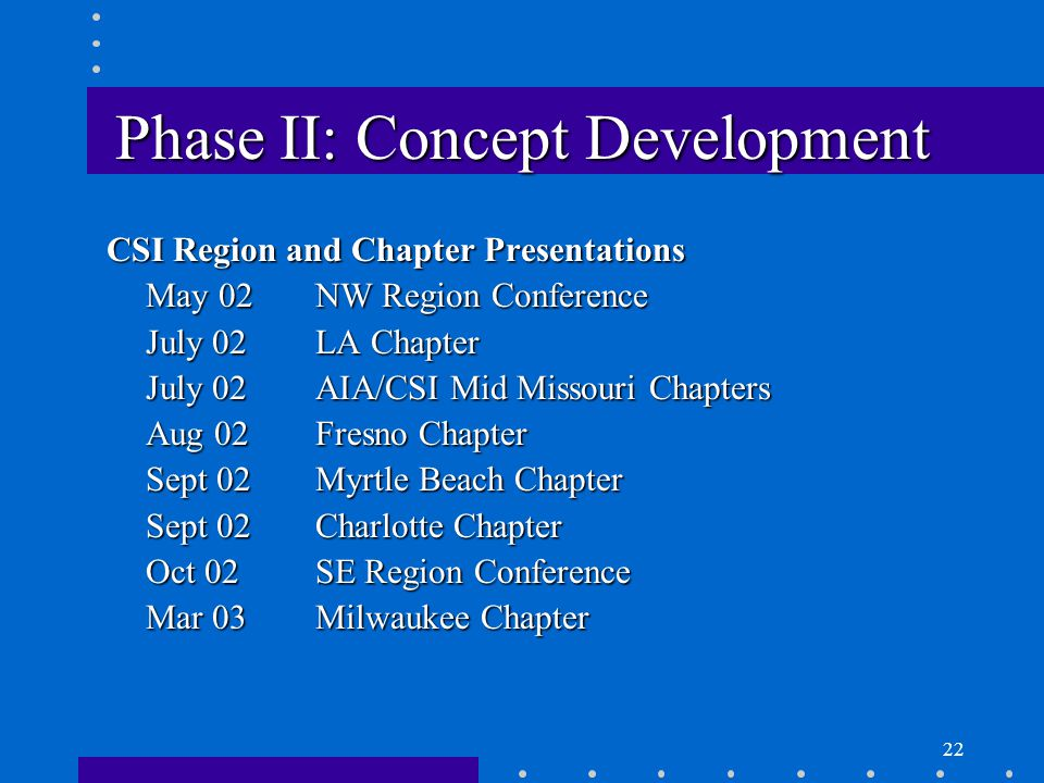22 Phase II: Concept Development CSI Region and Chapter Presentations May 02NW Region Conference July 02LA Chapter July 02AIA/CSI Mid Missouri Chapters Aug 02Fresno Chapter Sept 02Myrtle Beach Chapter Sept 02Charlotte Chapter Oct 02SE Region Conference Mar 03Milwaukee Chapter