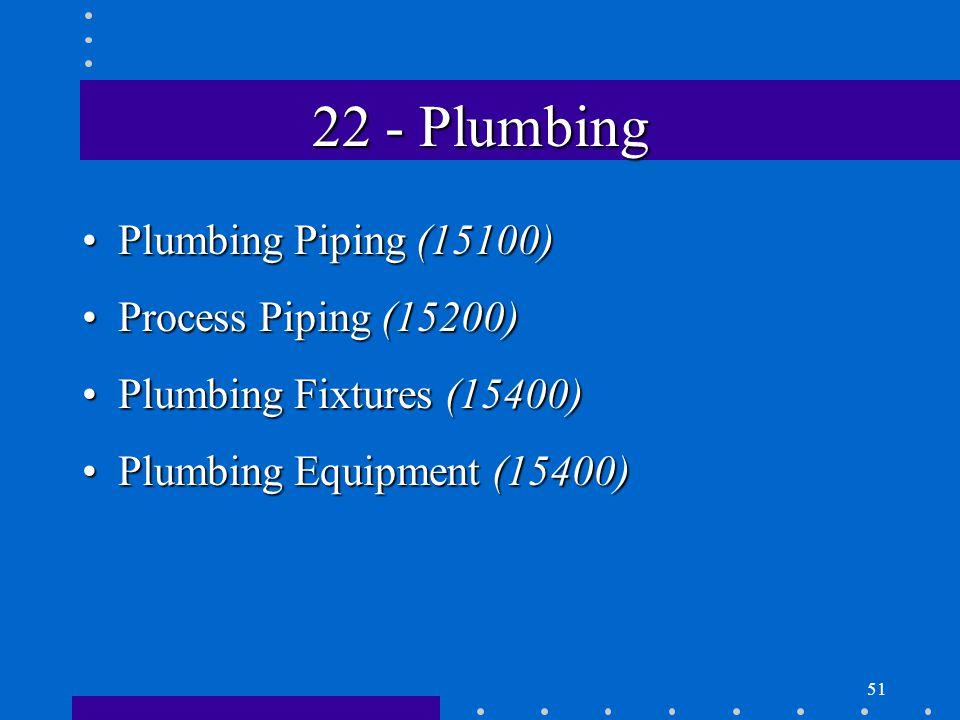 51 22 - Plumbing Plumbing Piping (15100)Plumbing Piping (15100) Process Piping (15200)Process Piping (15200) Plumbing Fixtures (15400)Plumbing Fixtures (15400) Plumbing Equipment (15400)Plumbing Equipment (15400)
