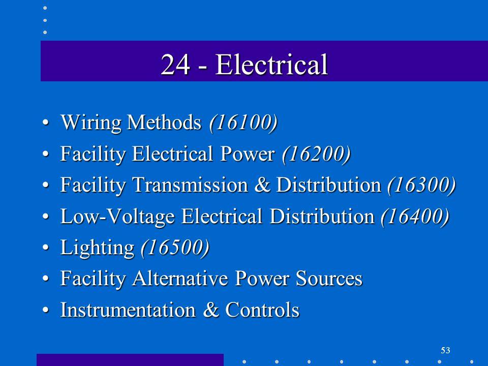 53 24 - Electrical Wiring Methods (16100)Wiring Methods (16100) Facility Electrical Power (16200)Facility Electrical Power (16200) Facility Transmission & Distribution (16300)Facility Transmission & Distribution (16300) Low-Voltage Electrical Distribution (16400)Low-Voltage Electrical Distribution (16400) Lighting (16500)Lighting (16500) Facility Alternative Power SourcesFacility Alternative Power Sources Instrumentation & ControlsInstrumentation & Controls