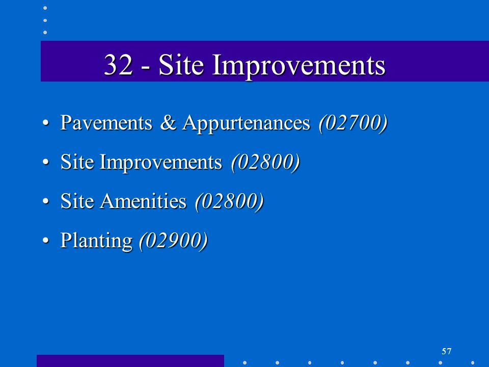 57 32 - Site Improvements Pavements & Appurtenances (02700)Pavements & Appurtenances (02700) Site Improvements (02800)Site Improvements (02800) Site Amenities (02800)Site Amenities (02800) Planting (02900)Planting (02900)