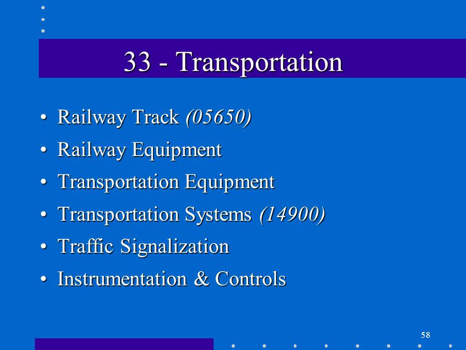 58 33 - Transportation Railway Track (05650)Railway Track (05650) Railway EquipmentRailway Equipment Transportation EquipmentTransportation Equipment Transportation Systems (14900)Transportation Systems (14900) Traffic SignalizationTraffic Signalization Instrumentation & ControlsInstrumentation & Controls