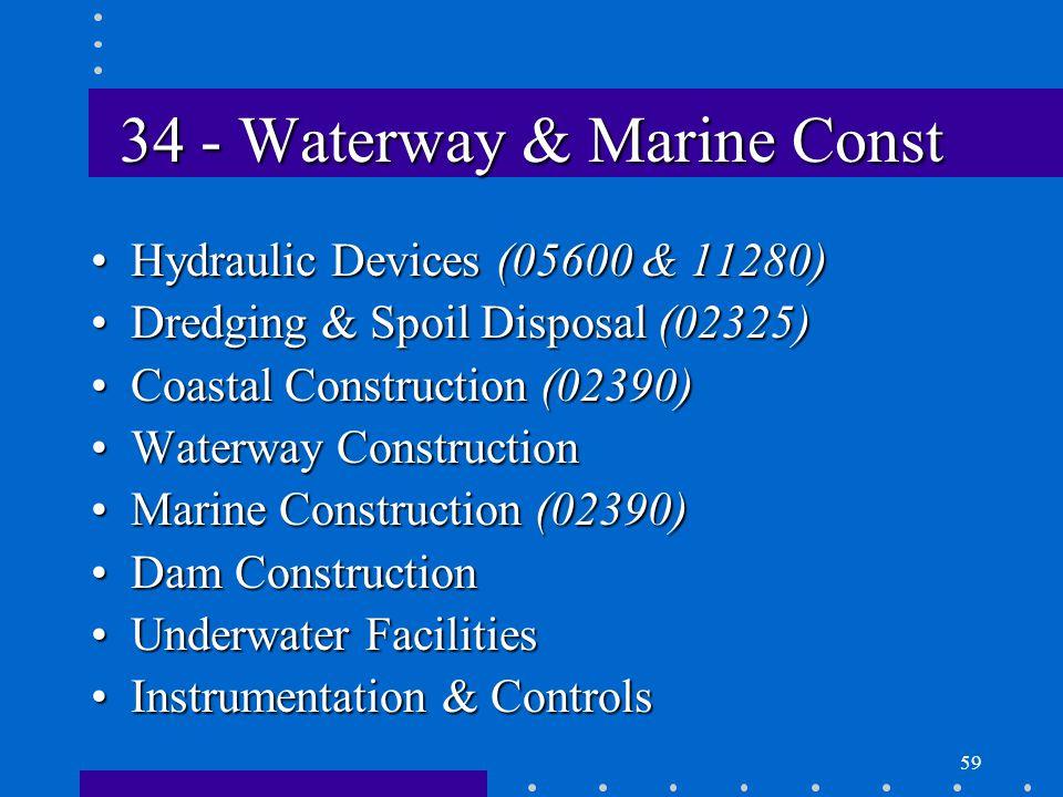 59 34 - Waterway & Marine Const Hydraulic Devices (05600 & 11280)Hydraulic Devices (05600 & 11280) Dredging & Spoil Disposal (02325)Dredging & Spoil Disposal (02325) Coastal Construction (02390)Coastal Construction (02390) Waterway ConstructionWaterway Construction Marine Construction (02390)Marine Construction (02390) Dam ConstructionDam Construction Underwater FacilitiesUnderwater Facilities Instrumentation & ControlsInstrumentation & Controls