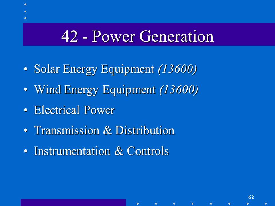 62 42 - Power Generation Solar Energy Equipment (13600)Solar Energy Equipment (13600) Wind Energy Equipment (13600)Wind Energy Equipment (13600) Electrical PowerElectrical Power Transmission & DistributionTransmission & Distribution Instrumentation & ControlsInstrumentation & Controls