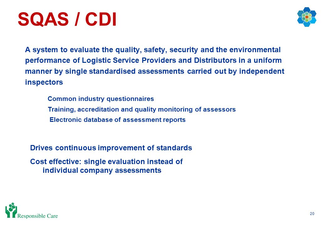 20 SQAS / CDI A system to evaluate the quality, safety, security and the environmental performance of Logistic Service Providers and Distributors in a