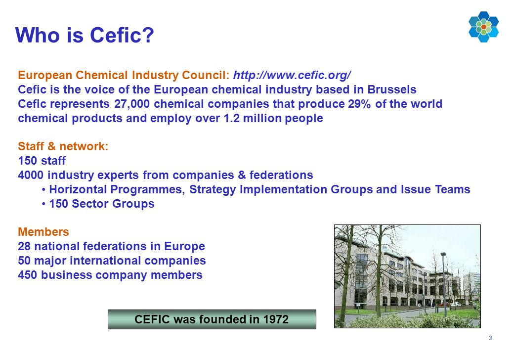 3 European Chemical Industry Council: http://www.cefic.org/ Cefic is the voice of the European chemical industry based in Brussels Cefic represents 27