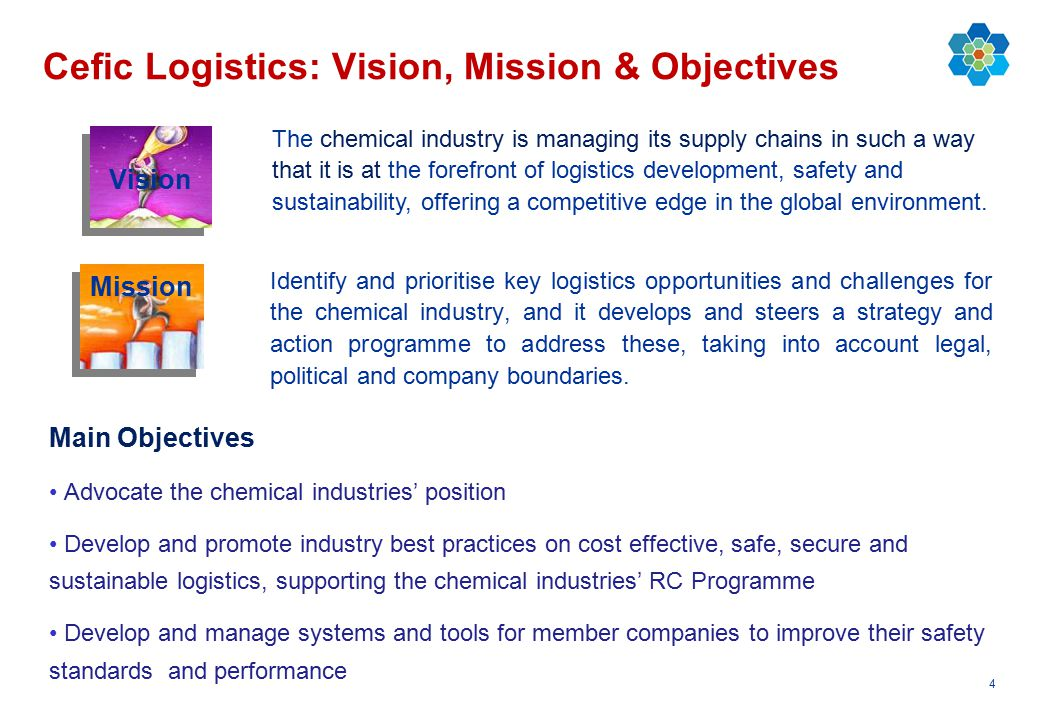 4 Cefic Logistics: Vision, Mission & Objectives Identify and prioritise key logistics opportunities and challenges for the chemical industry, and it d