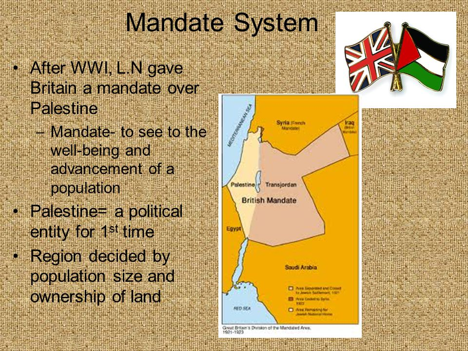 Mandate System Problems because the Jews and Arabs claimed it as their homeland Britain took action due to violence 1947- Britain terminated the mandate, State of Israel was formed